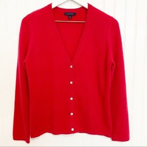LANDS END 100% cashmere v-neck button front cardigan sweater red size small 6-8